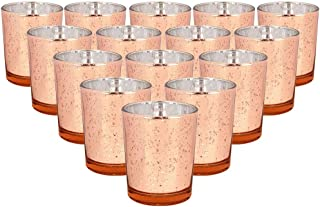 Just Artifacts Mercury Glass Votive Candle Holder 2.75-Inch (15pcs, Speckled Rose Gold) - Mercury Glass Votive Tealight Candle Holders for Weddings, Parties and Home Décor