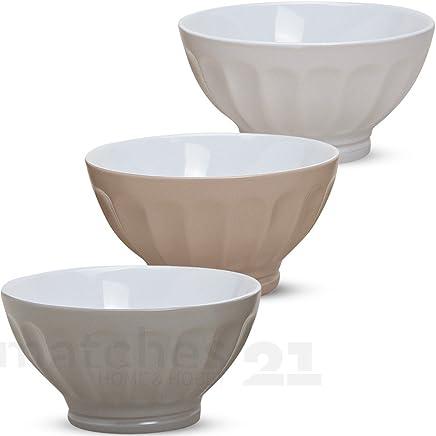 Preisvergleich für matches21 Müslischalen Frühstücksschalen 3er Set grau beige cremefarben aus Keramik je 8x16 cm/max. 500 ml