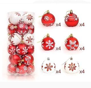 SMILINGGIRL Adornos Navideños, La Bola De Navidad Resistente A Roturas DE 24/6 Cm Brilla La Bola Bola De La Decoración del Árbol De Navidad Coincidir con El Tema (Oro Y Rojo),Redc