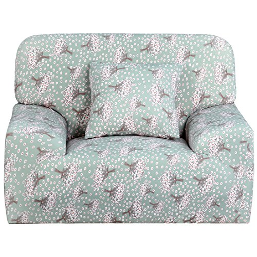 Sourcingmap Stretch Sofa Cover Chair Loveseat Couch Slipcover, Machine Washable, Stylish Furniture Protector Covers with One Cushion Case Bean Green Pink Small