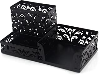 EasyPAG Desk Organizer with 3 Compartment for Pencil,Sticky Note Holder and Office Accessories,Black