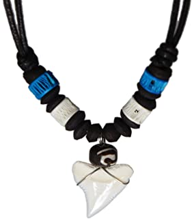 exoticdream Real Shark Tooth Necklace Surfer Hawaiian Beach - Color White Bone