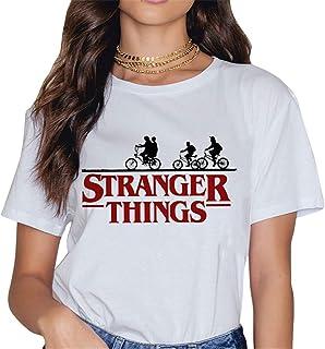 Camisetas Stranger Things Mujer, Camisetas Stranger Things Niña Retro tee Ringer T Shirt Manga Corta Abecedario Impresión ...