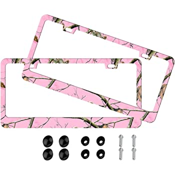 Made of Metal Airstrike Mossy Oak Pink Camo Front Decorative License Plate Made in USA -8002