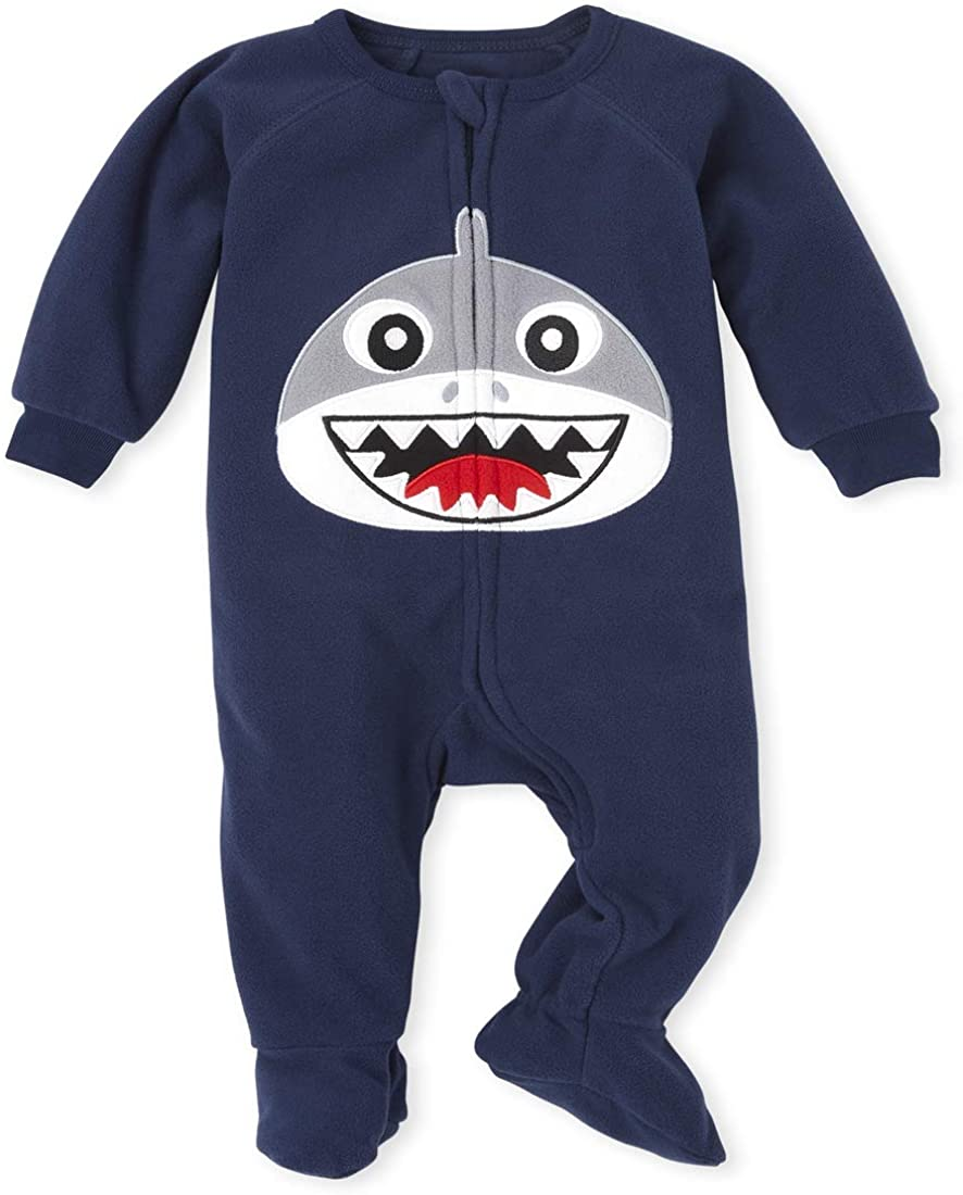 The Children's Place Boys' Baby and Toddler Dad and Me Shark Fleece Matching One Piece Pajamas