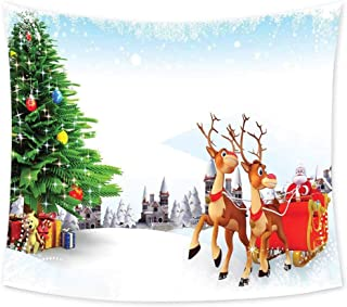 Luoiaax Santa Tie Dye Tapestry Wall Hanging Snow Covered Christmas Village with Cartoon Santa on His Sleigh Big Tree and Boxes Wall Art for Living Room Hanging W84 x L70 Inch Multicolor