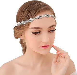 BLUETOP Wedding Headband for Bridal Headpiece Jewelry Handmade Crystal Rhinestone Vintage Beads Satin Ribbon Women Hair Band Accessories