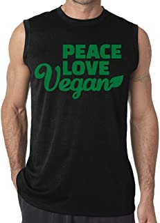Peace Love Vegan Mens Sleeveless Tank Top T-Shirt Casual Gym Vest tee