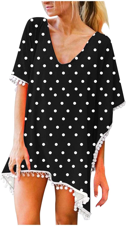 Swimsuit Cover Ups for Women Chiffon Tassel Sunflower Printed V Neck Loose Summer Beach Bikini Cover Ups for Swimwear