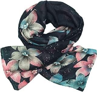 Flower Floral Scarf Women - Lightweight Long (Pink-Blue)