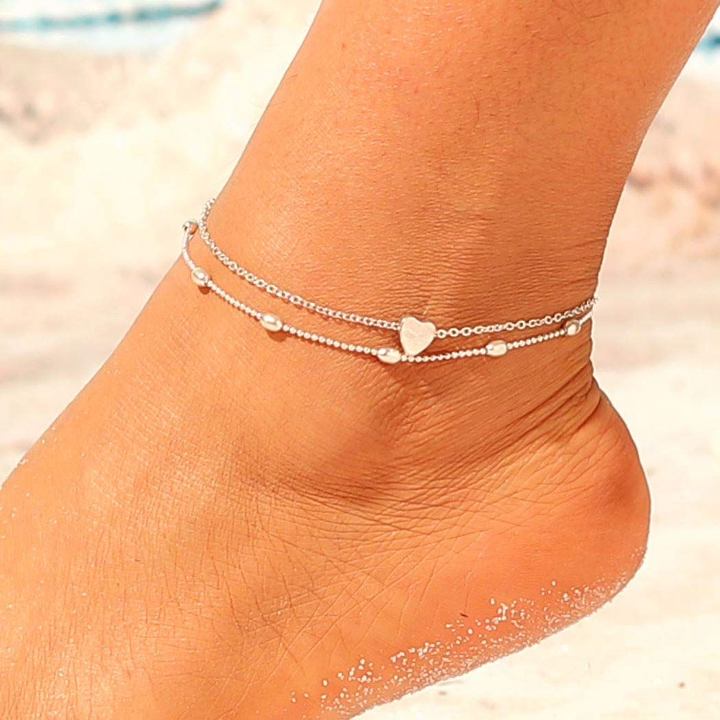 Jovono Max 68% OFF Ranking TOP19 Boho Beaded Anklets Fashion Bra Heart Anklet Miltilayered