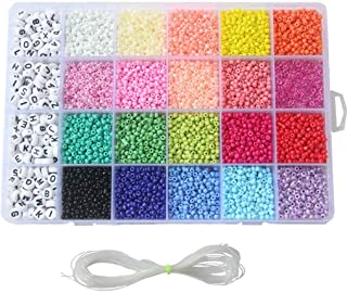 Seed Beads, 3300 PCS Letter Beads and Pony Beads 24-Grid Bead Kit Set Rope Mini Seed Beads Set for Jewelry Making Bracelet...