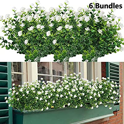 HAPLIA 6 Bundles Artificial Flowers, Fake Artificial Greenery UV Resistant No Fade Faux Plastic Plants for Wedding Bridle Bouquet Indoor Outdoor Home Garden Kitchen Office Table Vase (White)