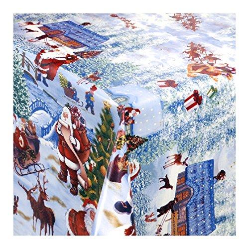 WACHSTUCH Tischdecken Wachstischdecke Gartentischdecke, Abwaschbar Meterware, Weihnachtsdorf, Winterliche Landschaft mit Weihnachtsmotiven (228-00) 110cm x 140cm