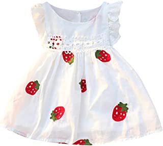 TIFENNY Summer Baby Girls Dresses Floral Strawberry Lace Flying Sleeve Embroidered y Sleeveless Kids Clothing