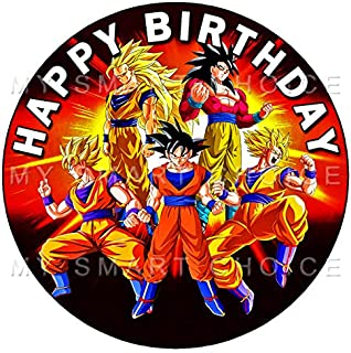 7.5 Inch Edible Cake Toppers – DRAGON BALL Z - GOKU GOGETA Themed Birthday Party Collection of Edible Cake Decorations