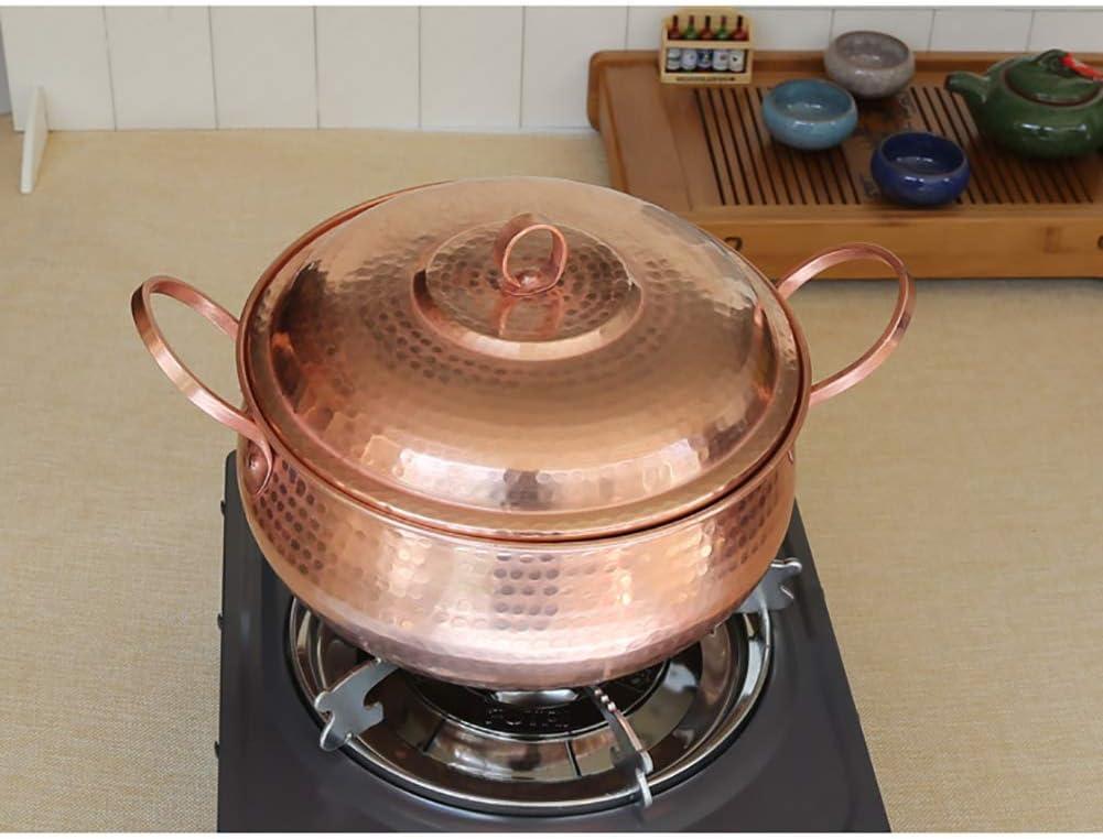 LIUSHI Pot de Soupe en cuivre Fait à la Main, Casserole de Pot de ragoût avec des Pots sains de feu Ouvert de Couvercle A 5.81Quart 7.9quart