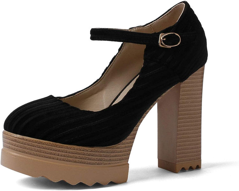 Smile-bi Women Pumps shoes Ankle Strap Platform 3cm Square High Heels Round Toe Buckle Sandals shoes Women