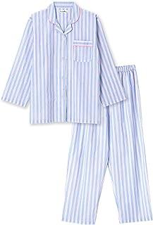 綿100% 長袖 レディース パジャマ 春 夏 向け さらりとした薄手パジャマ シンプルストライプ柄