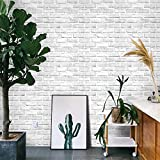 "393""×18"" Gray White3D Brick Contact Paper Self Adhesive Stick and Peel Paper Stick Paper Brick Wallpaper Roll Peel Stick Textured White Gray Brick Wallpaper Brick Removable Wallpaper Vinyl Film"