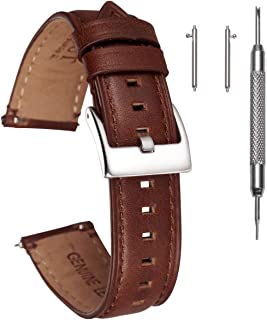 Hemsut Watch Band Strap Quick Release Top Grain Leather Soft Vintage Replacement of 20mm, 22mm or 24mm for Men Women