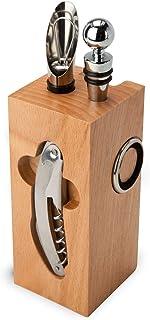 Articles cadeaux ROMINOX accessoires pour le vin // Bloc en hêtre - 7 pièces: avec couteau de sommelier, 2 bagues d'égoutt...