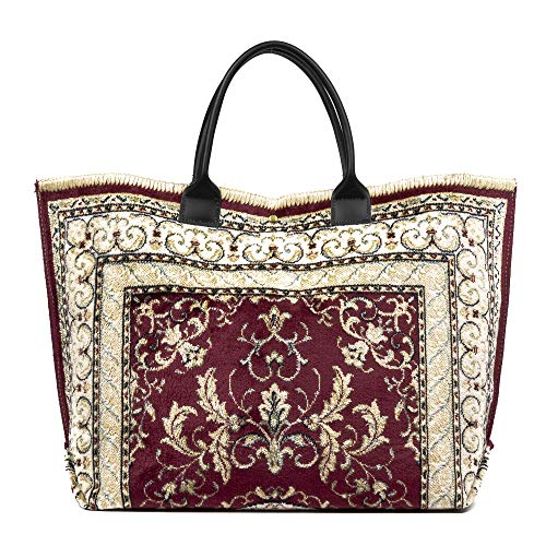 FIRENZE ARTEGIANI. Zanita Borsa Shopper Donna Tessuto Cotone Uncinetto Borsa Shopper.Made in Italy.54x13x33 cm Colore: bordeaux beige.