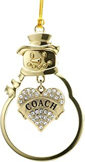 Inspired Silver - Coach Charm Ornament - Gold Pave Heart Charm Snowman Ornament with Cubic Zirconia Jewelry
