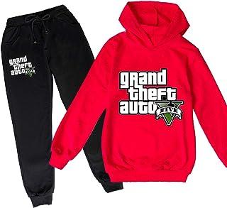 ZKDT Grand Theft Auto Pantalones con capucha de manga larga, 3D GTA 5, para niños y niñas, ropa de primavera y otoño