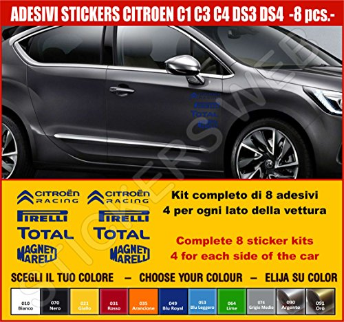 Aufkleber für Citroen C1 C3 C4 DS3 DS4-8 Aufkleber Tuning Auto Wählen Sie Farbe - Car Pegatina Code .0498, Blu Royal cod. 049