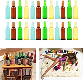 Luckycivia 24 Pcs 4 Styles Miniature Beer Bottles, Doll Toy Collectible Gift, Beer Cup Toys Model for 1:12 Dollhouse Kitchen Food Accessories (1-3/8