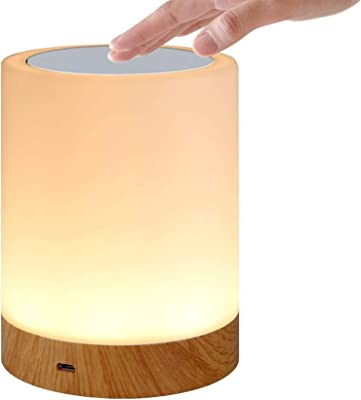 LEISENOR Night Light Touch Sensor Lamp Bedside Table Lamp for Kids Bedroom Rechargeable Dimmable Warm White Light + RGB Color Changing