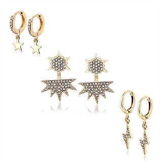 BSJELL Dangle Earrings Sets for Women Huggie Hoop Earrings Tiny Star Crystal Lightning Bolt Wedding Ear Jacket Stud Set Fashion Jewelry 3 Pairs