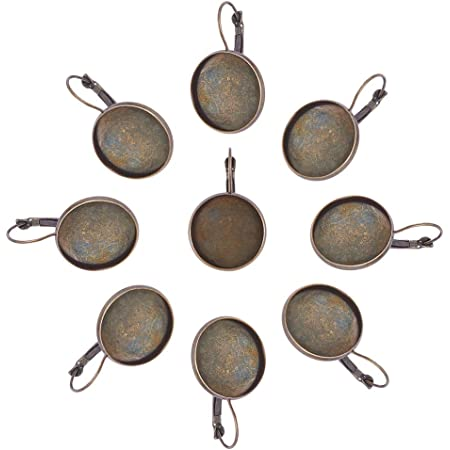 PandaHall Componenti orecchino a Cerchio in Ottone Lever Back, Piatta e Rotonda, Bronzo Antico, 34x22x9 mm, Foro: 11x17 mm, Vassoio: 20 Diametro Interno mm,10pcs