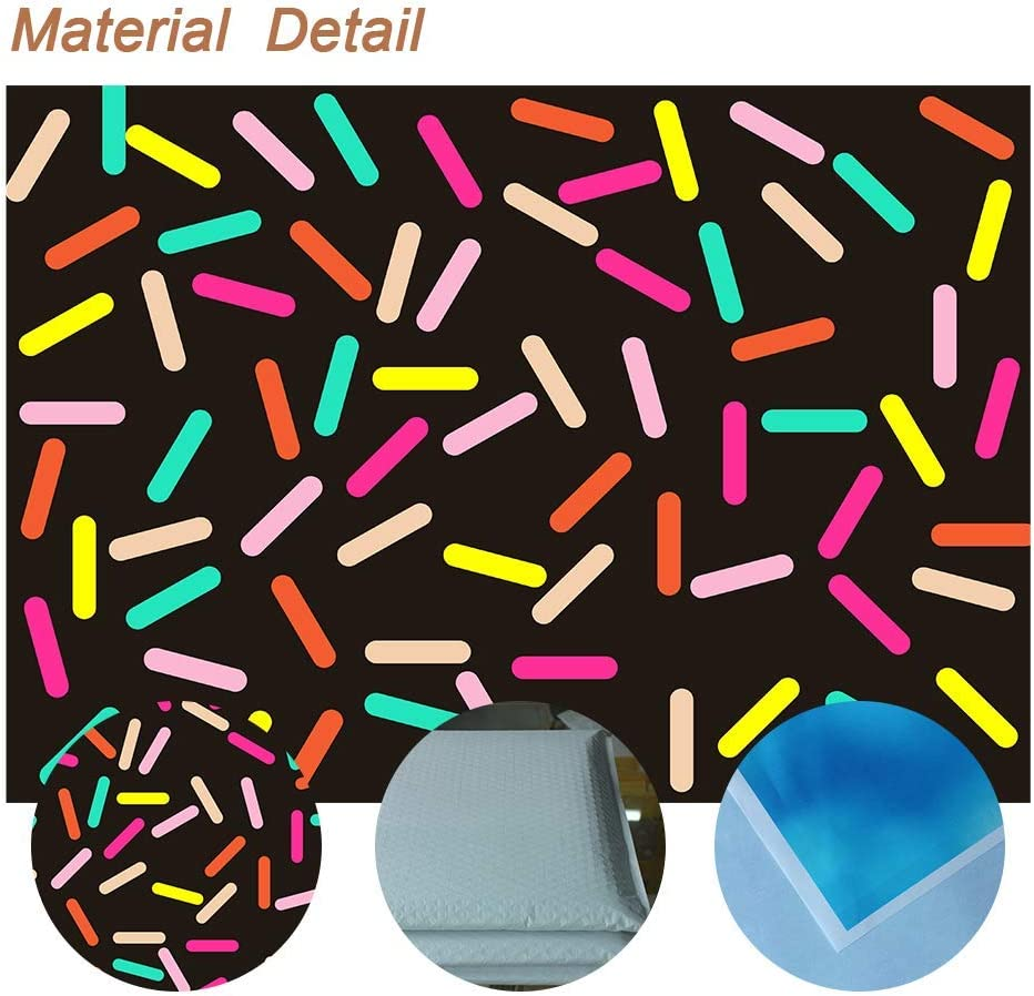 Black 15x10ft Colorful Sugar Sprinkle Background Confetti Party Photography Backdrop Candy Bakery Photo Props Decor
