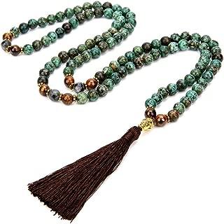 Unisex Yoga Meditation Mala Beads Necklace 8mm Natural Stone with Tassel