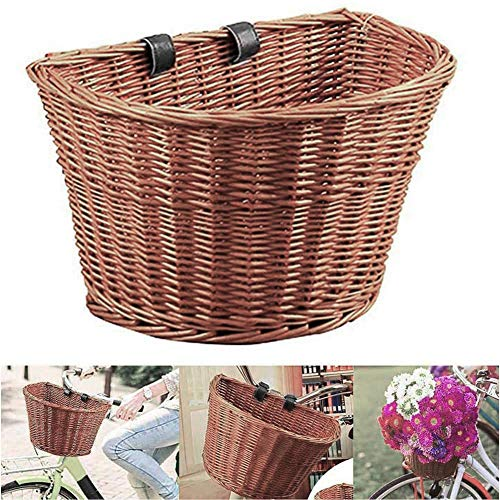 Monkys Fahrradkorb Fahrradfrontkorb Retro Handmade Wicker Abnehmbarer Korb mit Lederriemen(M:23 * 18 * 15cm)