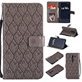 Guran Funda de Cuero Para LG V10 Smartphone Función de Soporte con Ranura para Tarjetas Flip Case Patrón de ratán vintage Cáscara - gris