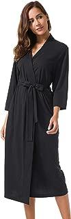 Women's Kimono Robes Cotton Lightweight Robe Long Knit Bathrobe Soft Sleepwear V-Neck Ladies Nightwear
