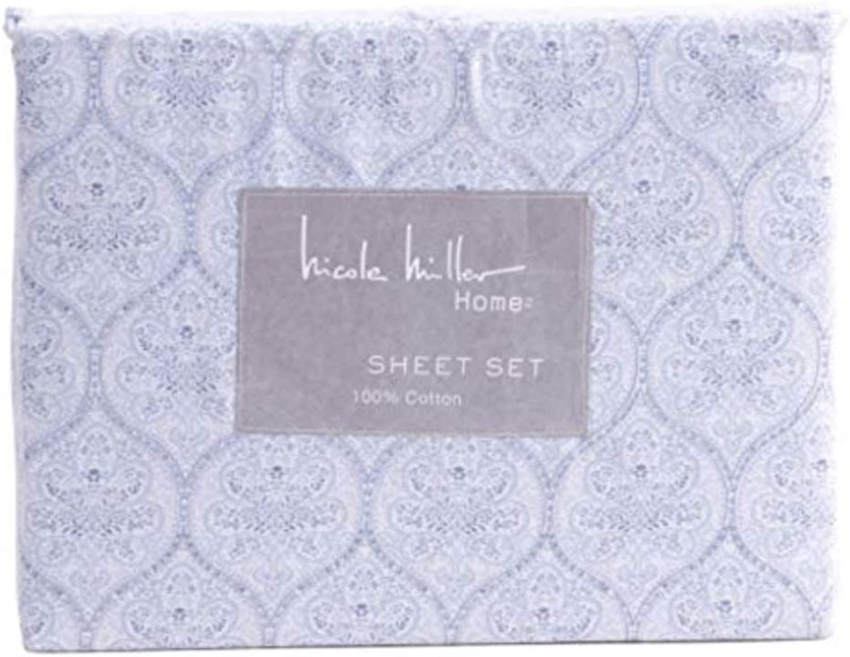 Nicole Miller Queen Sheet Set Bohemian Medallion Floral bluees on White Cotton Bedding