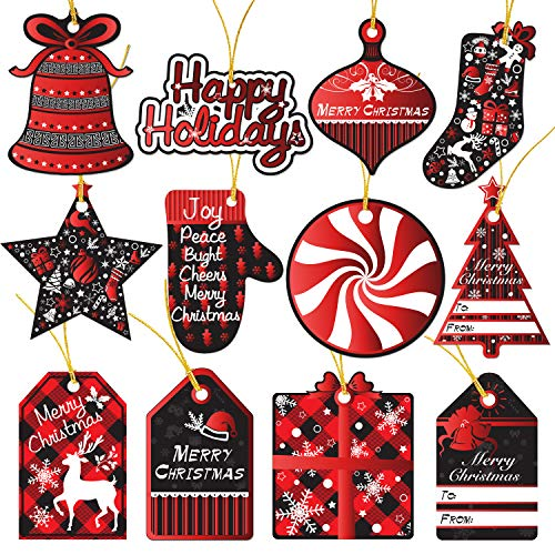 120 Christmas Gift Tags With Ribbon Tie Strings Attached 10 Red Foil Black & White Designs Personalized Merry Christmas Holiday Gift Bags Wrapping Presents & Packages