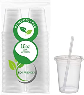 50 Count Eco Friendly Clear PLA Cups with Lids - Plasticless 16 Ounce Biodegradable Plastic Cups Made of Compostable Plant-Based PLA for to Go Cold Beverage