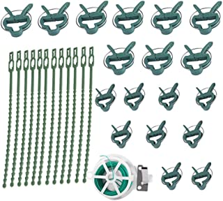 Mumusuki 18pcs Plant Support Clips Grafting Clips Set with 20m String 12pcs Binding Strap Garden Plant Clips Twisty Rings for Securing Plants
