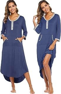 Womens Maternity Nightgown Dress 3/4 Sleeve Nursing Pregnancy Loungewear Sleep Dress