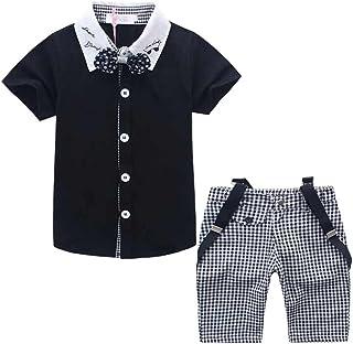 cnWay(JP)男の子 子供服 スーツ フォーマル 半袖 サスペンダー 付き 洋服 紳士服 4点セット