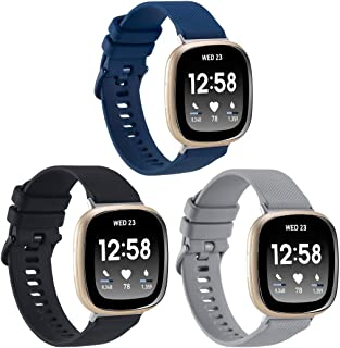 3-Pack Sport Bands Compatible with Fitbit Sense/Versa 3, Classic Soft Silicone Replacement Wristband Strap Accessories for...