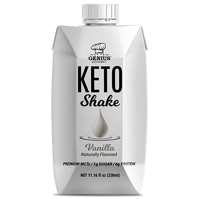 Genius Gourmet All Natural Keto Shakes Ready to Drink - Low Carb Keto Snacks to Go | Premium MCTs, 1g Sugar, 6g Protein (Vanilla, 12 Pack)