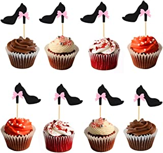HOKPA Glitter Cupcake Toppers Black High-heeled Shoes, with Bow-knot Cake Fruit Picks Decorative for Single Party Wedding Birthday Parties Supplies Decoration (20PCS)