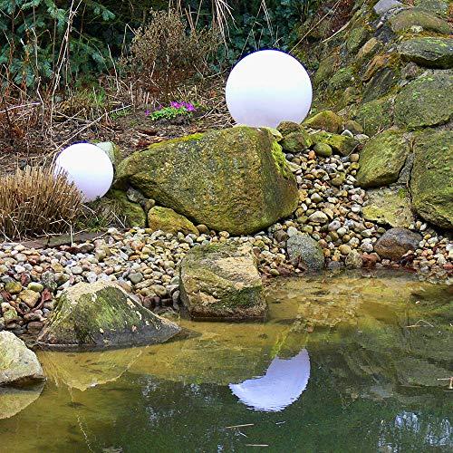 Dapo Außen-Garten-Kugel-Leuchte-Lampe Marlon 2er Set (20 + 20cm) IP44, mit Erdspieß, E27, Dekorations-Stimmungs-Party-Boden-Rasen-Terrassen-Balkon-Leuchte-Lampe