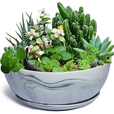 10Inch Large Planter Pot Marble Pattern Ceramic Succulent Planter Big Plant Pot Succulents Container Flower Pot Indoor Outdoor Decor